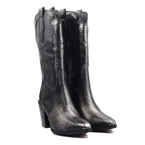 Pons Quintana Viola Croc Cowboy Boot Black/Gold