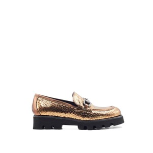 Jenny Metallic Snake Loafer Bronze