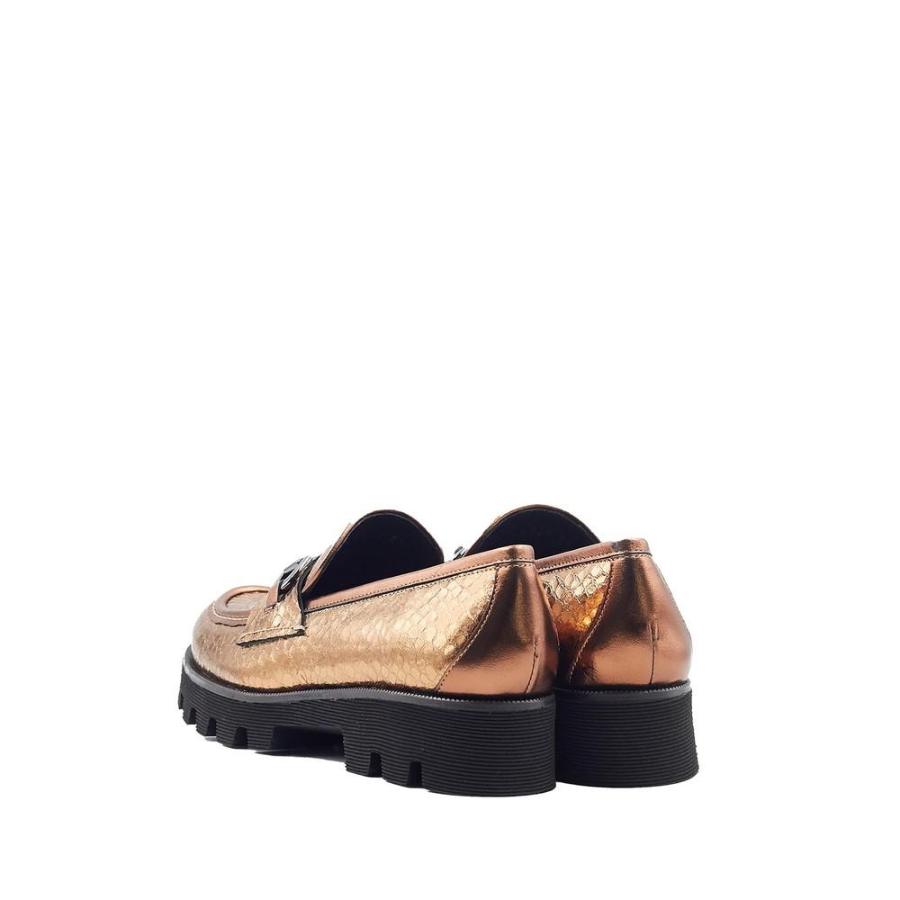 Pons Quintana Jenny Metallic Snake Loafer Bronze