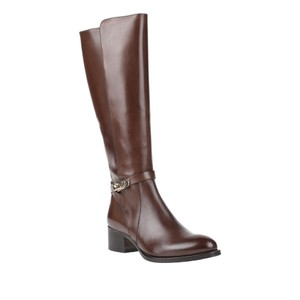 Calpierre Twist Clasp Ankle Tall Boot Chocolate