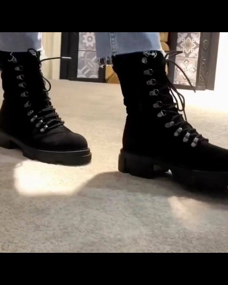 Alpe Tall Lace Up Suede Boot Black