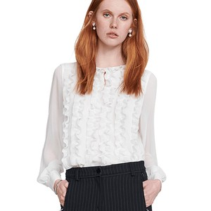 Ruffle Fronted Blouse Off White