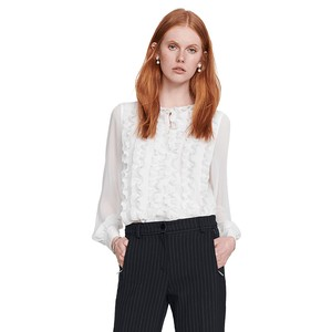 Riani Ruffle Fronted Blouse Off White