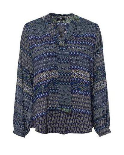 Riani Tie Neck Paisley Blouse Indaco/Green