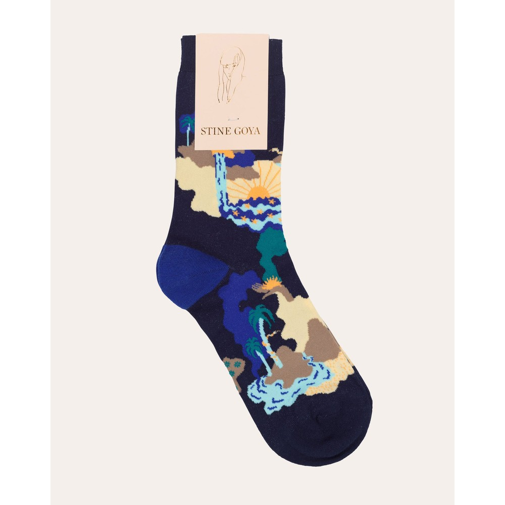Stine Goya Iggy Socks Landscape Blue