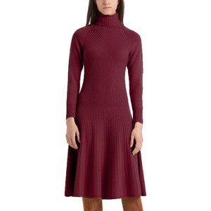 Roll Neck Knit Flare Dress Wine
