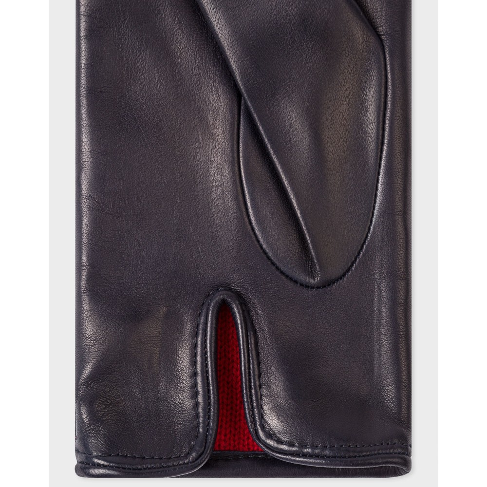 Paul Smith Accessories Leather Swirl Stitch Gloves Navy