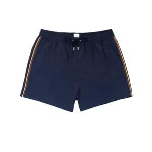 Short Plain Stripe Swim Trunks Navy
