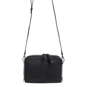 Boxy Leather Cross Body Bag Navy