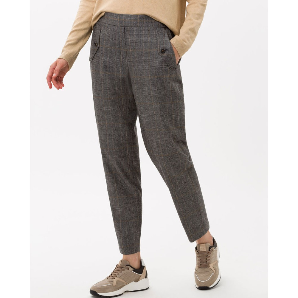 Brax Mareen Check Tapered Trouser Mid Grey