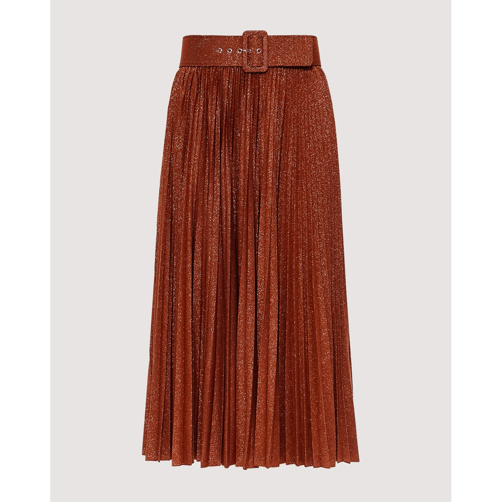 Marella Madras Pleat Skirt w/Belt Brown/Copper