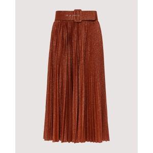 Madras Pleat Skirt w/Belt Brown/Copper