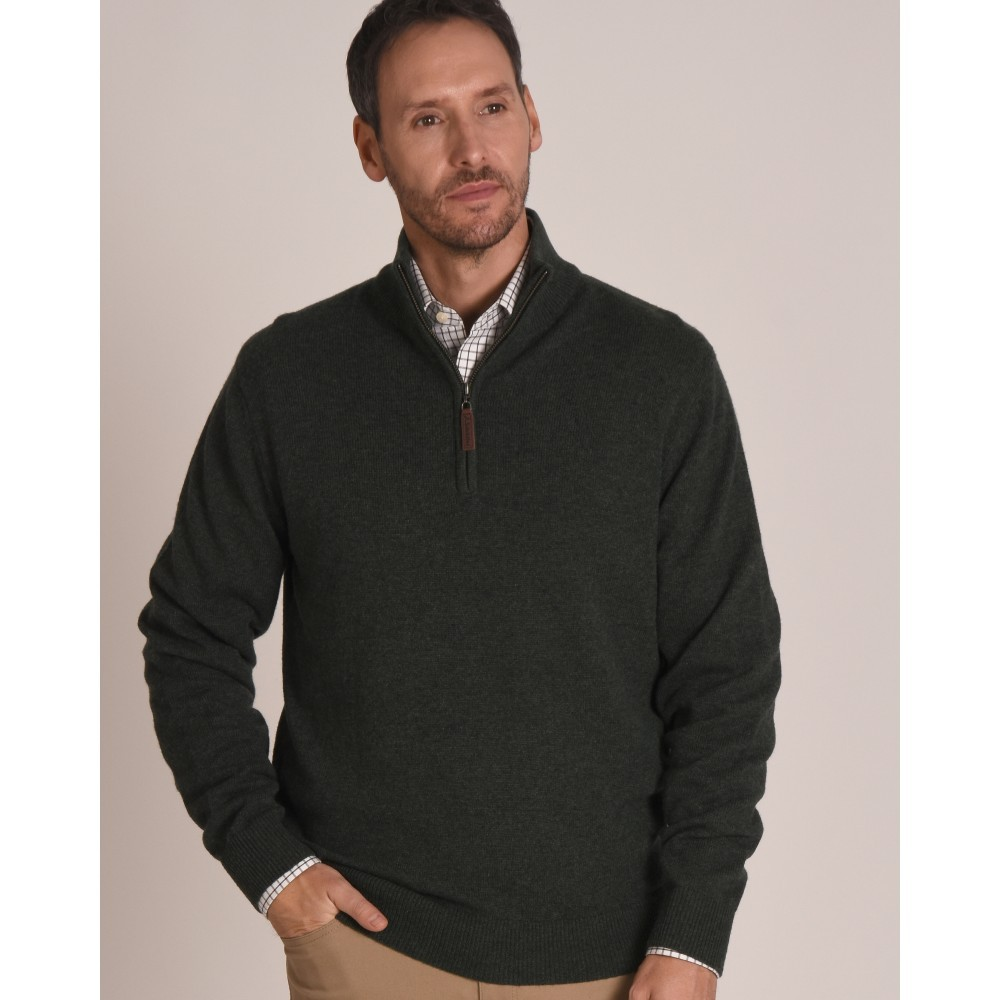 Schoffel Country Lambswool 1/4 Zip Jumper Forest