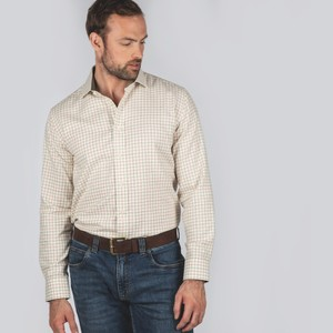 Schoffel Country Newton Tailored Sports Shirt in Olive/Brick Check