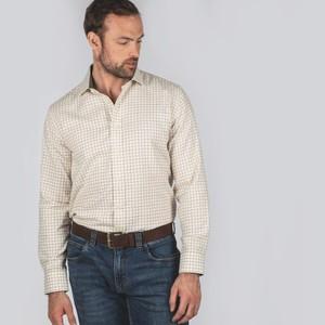 Newton Tailored Sports Shirt Olive/Brick Check