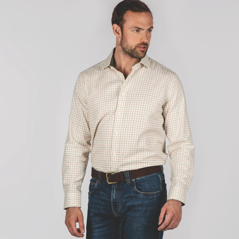 Schoffel Country Newton Tailored Sports Shirt Olive/Brick Check