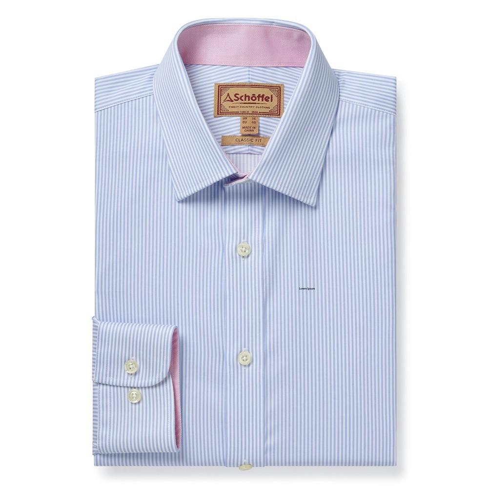 Schoffel Country Greenwich Tailor Shirt-Dbl Cf Lt Blue Stripe
