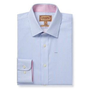 Greenwich Tailor Shirt-Dbl Cf Lt Blue Stripe