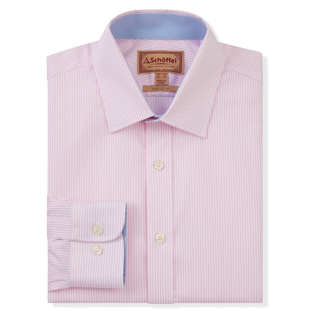 Schoffel Country Greenwich Tailor Shirt-Dbl Cf Pale Pink Stripe