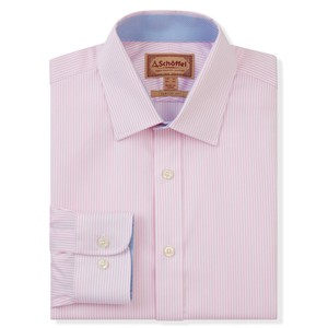 Schoffel Country Greenwich Tailor Shirt-Dbl Cf in Pale Pink Stripe