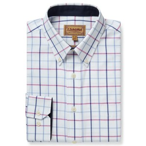 Schoffel Country Brancaster Shirt in Blue/Pink Check