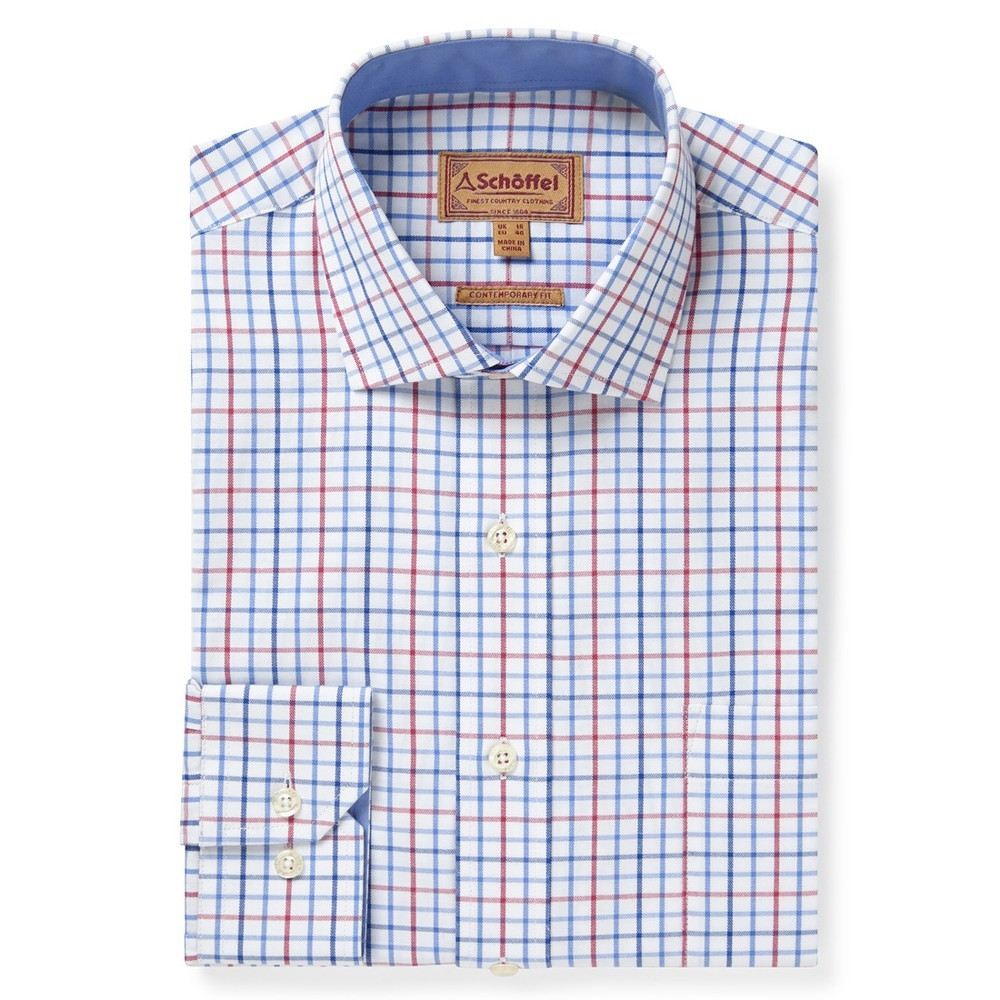 Schoffel Country Milton Tailored Shirt Red/Denim Check