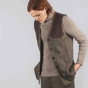 Ladies Tweed Shooting Vest Loden Green H/Bone Tweed