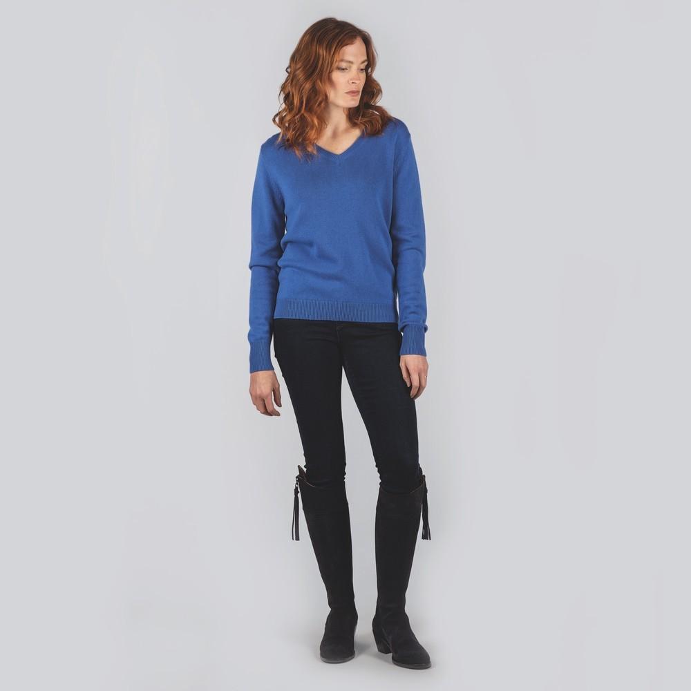 Schoffel Country Ladies Merino V Neck Cobalt Blue