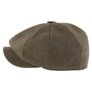 Schoffel Country Newsboy Cap in Loden Green H/Bone Tweed