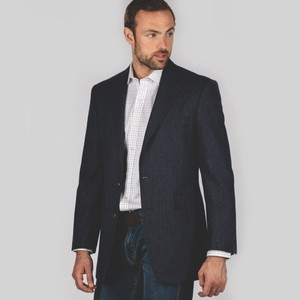 Belgrave Sports Jacket Navy Herringbone Tweed