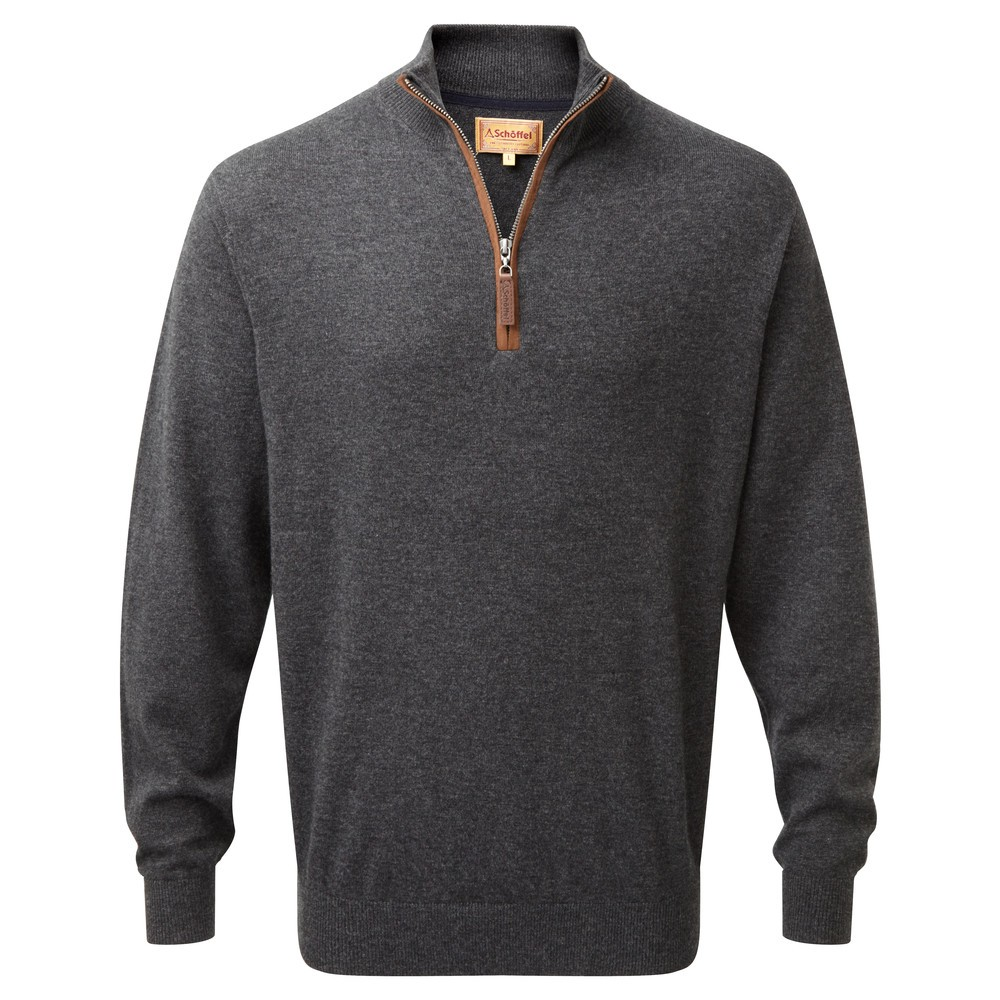 Schoffel Country Merino Cashmere 1/4 Zip Charcoal
