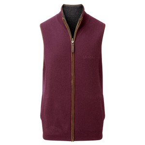 Schoffel Country Merino/Cash Gilet Reversible in Damson/Charcoal