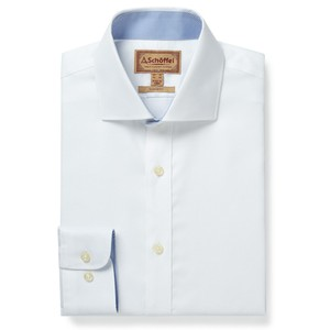 Schoffel Country Greenwich Tailored Shirt in White Diagonal