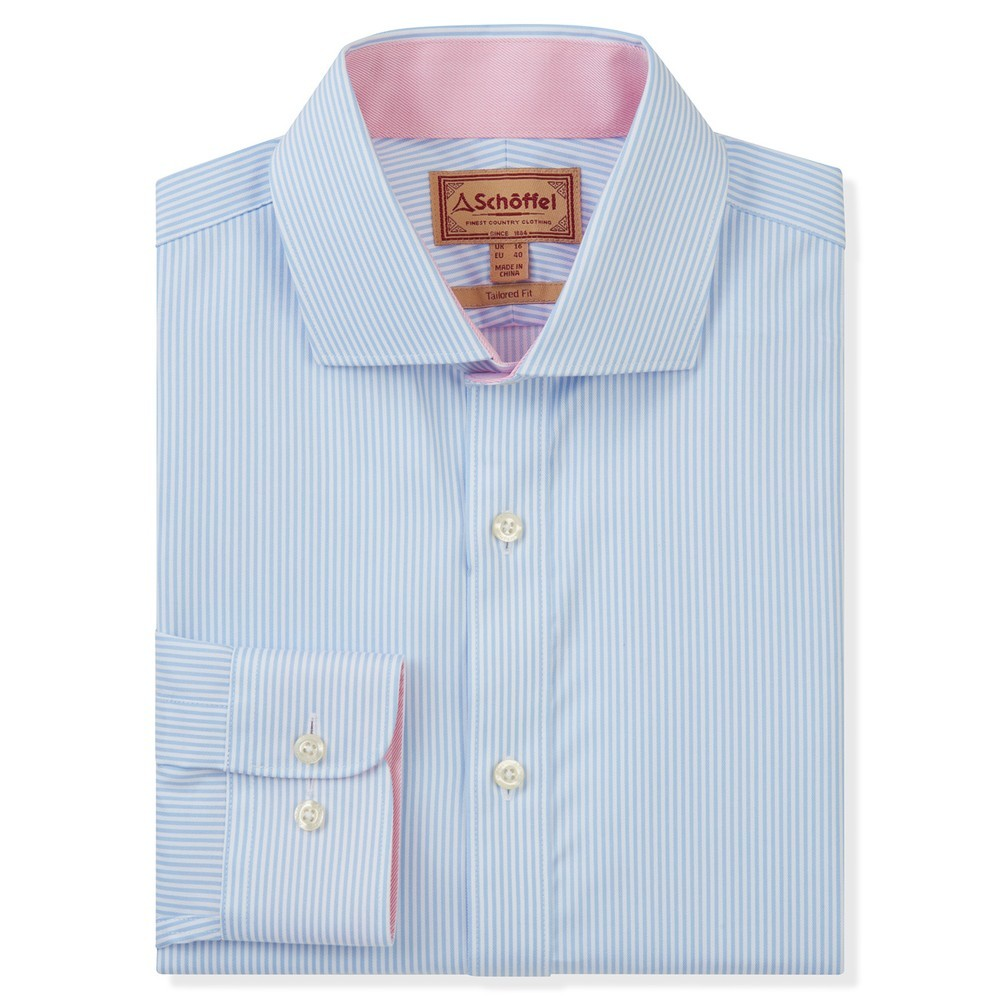 Schoffel Country Greenwich Tailored Shirt Lt Blue Stripe
