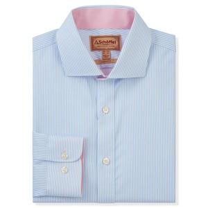Schoffel Country Greenwich Tailored Shirt in Lt Blue Stripe