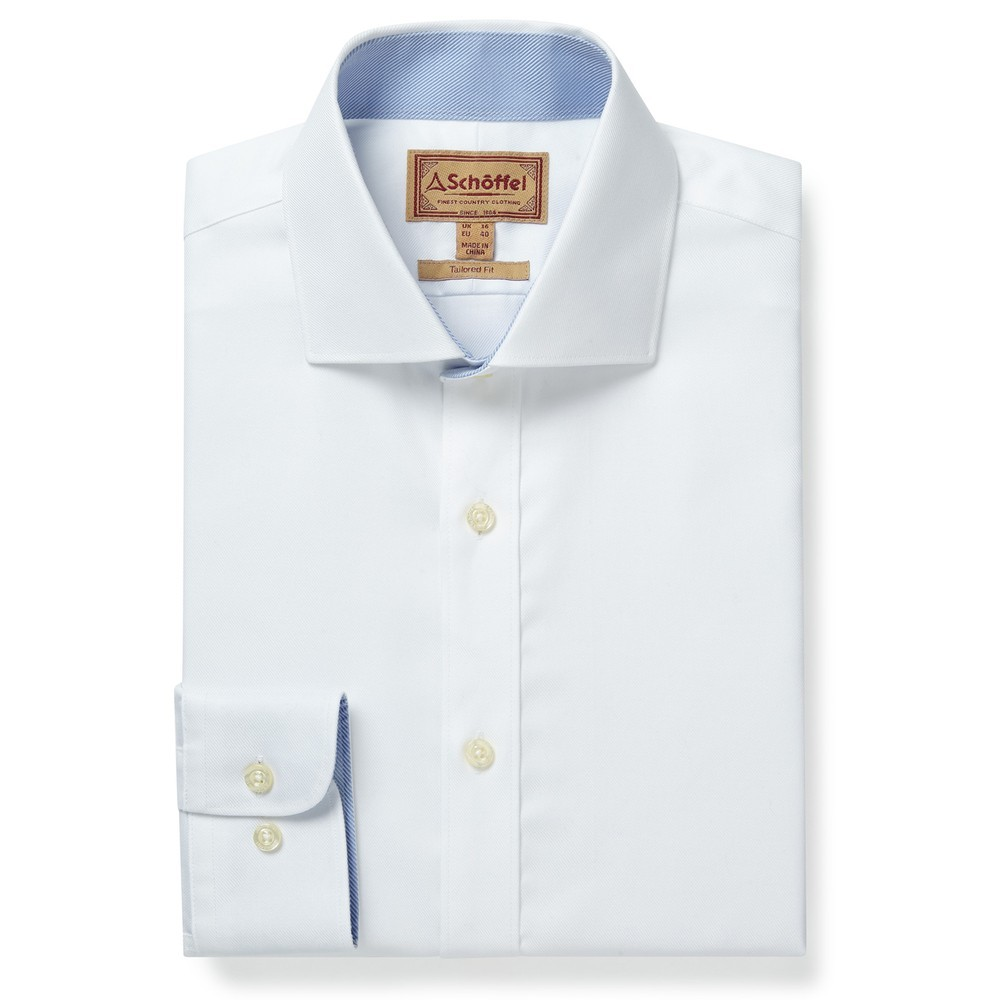 Schoffel Country Greenwich Tailor Shirt-Dbl Cf White Diagonal