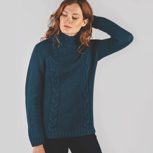 Merino Cable Roll Neck Jumper Kingfisher