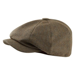 Ladies Newsboy Cap Loden Green H/Bone Tweed