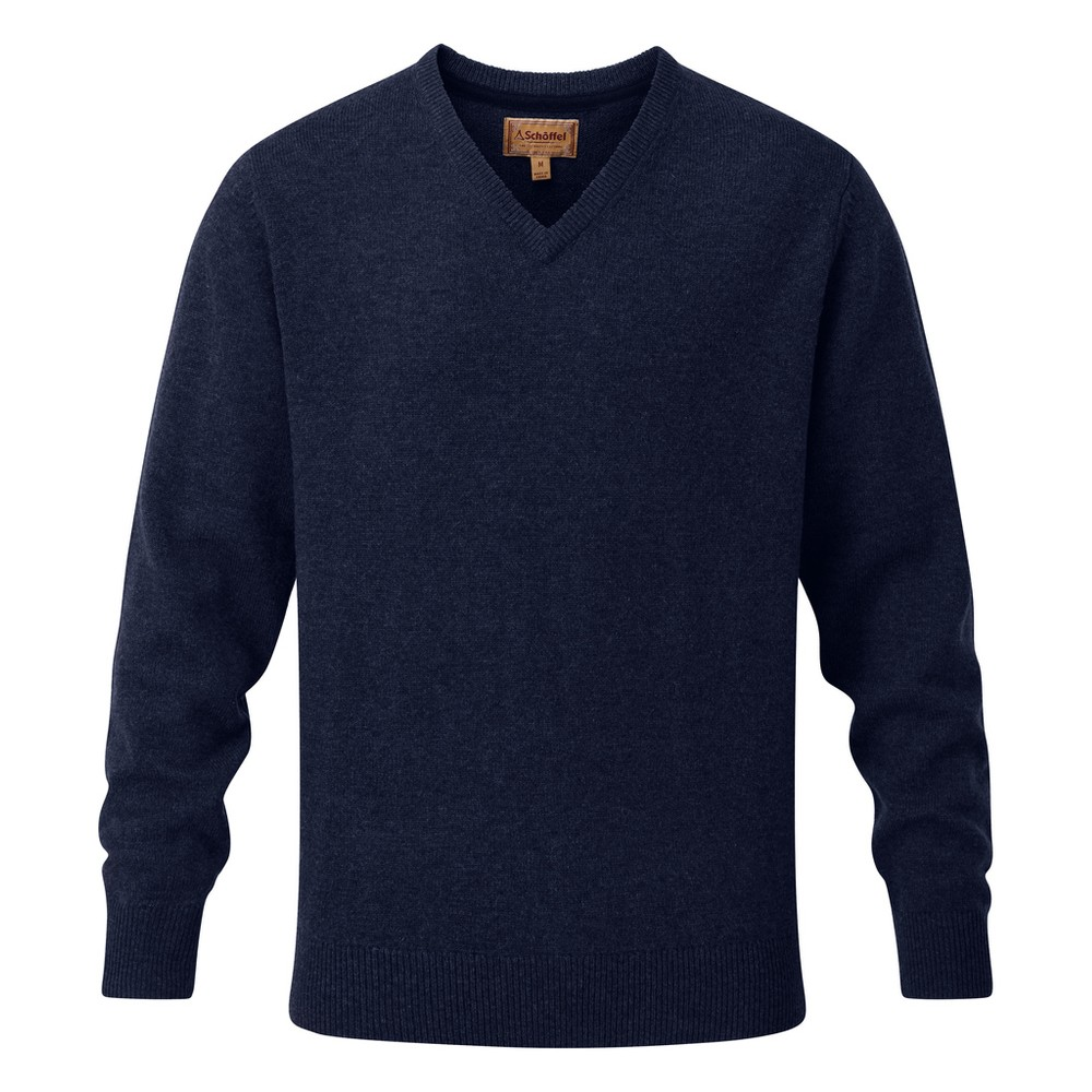 Schoffel Country Lambswool V Neck Jumper Navy