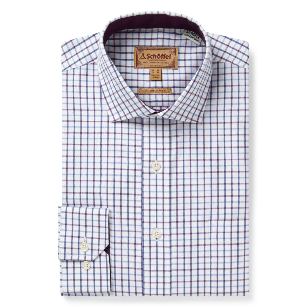 Schoffel Country Milton Tailored Shirt Purple Check