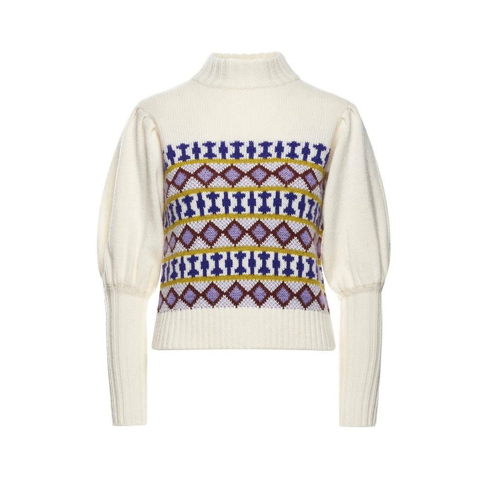 Sfizio T/Nk Geo Jacquard Sweater Cream/Multi