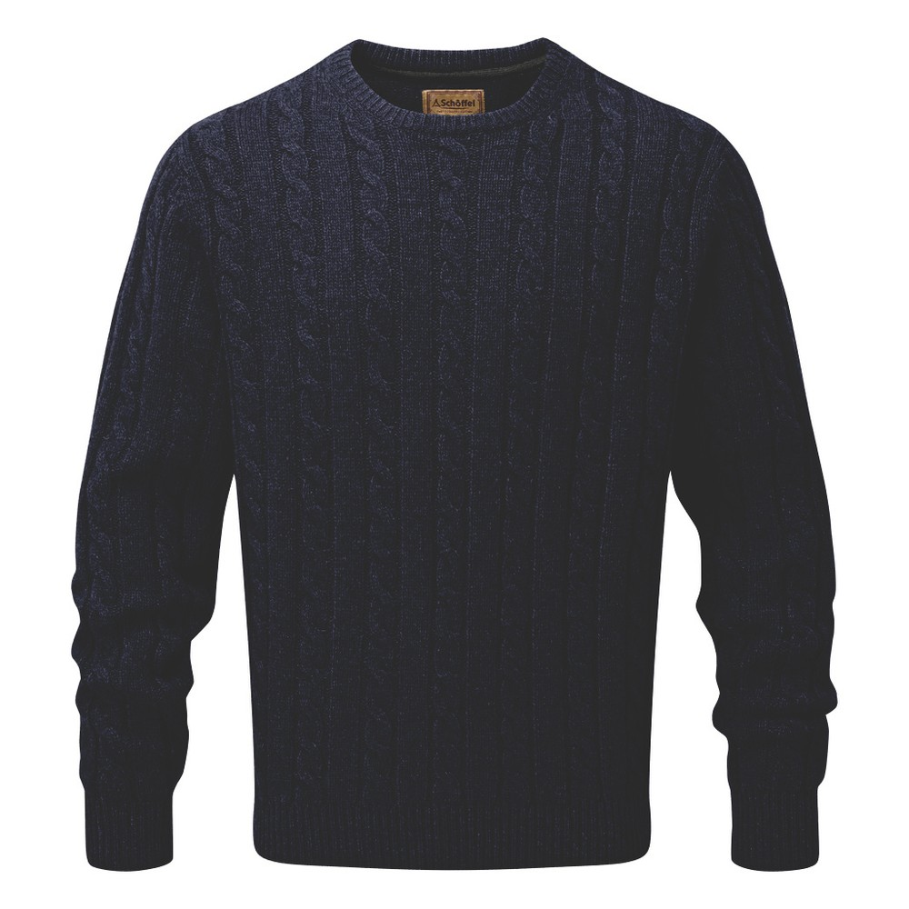 Schoffel Country Lambswool Chunky Cable Crew Navy
