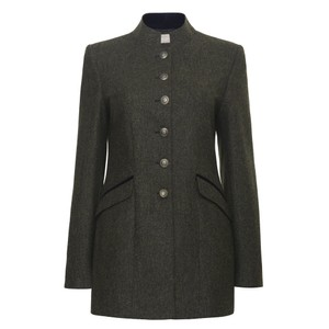 Abby Contrast Trim Coat Olive/Navy
