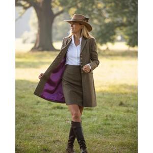 Anna Lascata Catherine Contrast Trim Coat Moss Raspberry