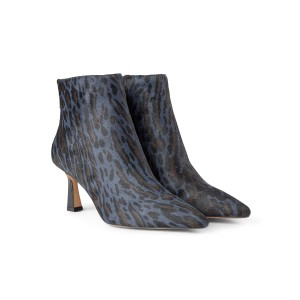 Caris Zip Point Leopard Boot Blue