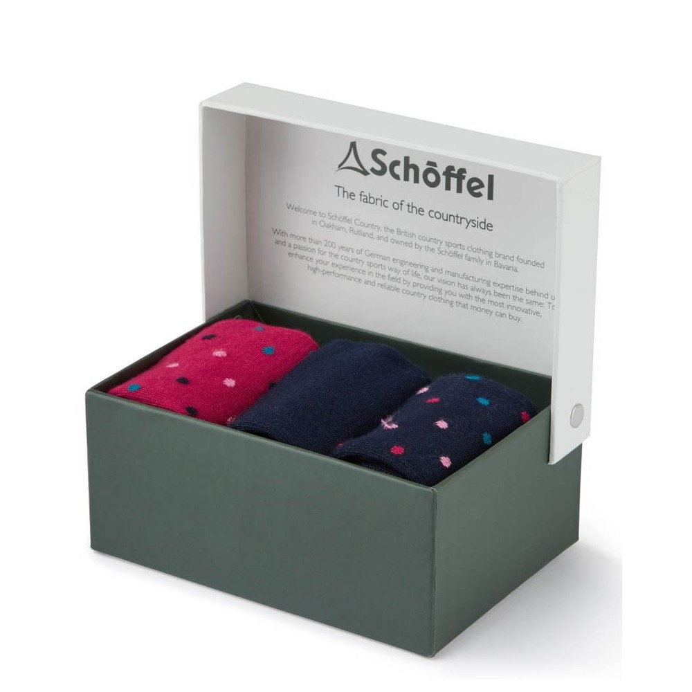 Schoffel Country Ladies Bamboo Socks-3 Pack Navy Dot Mix
