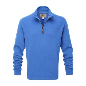 Schoffel Country Cotton French Rib 1/4 Zip in Cornflower Blue