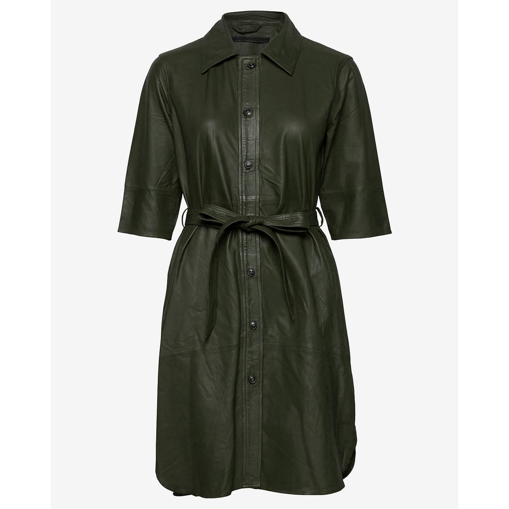 Mdk Clare Leather Dress Dark Green