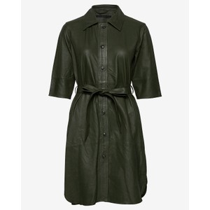 Clare Leather Dress Dark Green