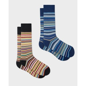 2 Pack Multi/Stripe Sock Black/Blue